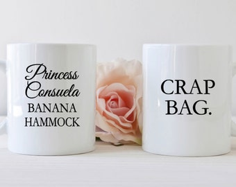 Friends tv show mug, Princess consuela, couples mug set