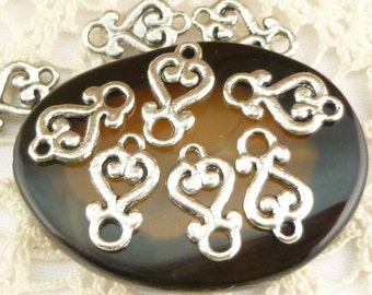 Tiny, Fancy Heart Connector Charms, Antique Silver (10) - S156