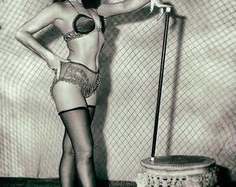 Bettie Page photo vintage photograph BDSM dominatrix erotic risque fetish photography 1940s-PRINT poster
