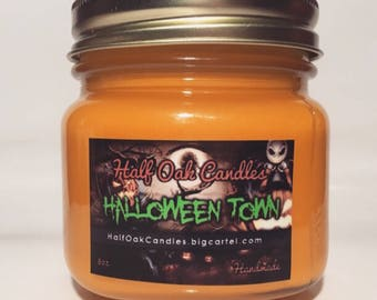 Halloween Town - Decorations- Scented Candles | Soy Candle Handmade | Pumpkin King | Book | Halloween Candle | Fall Candles, Movie Candles