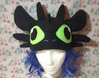Toothless the Night Fury from How to Train Your Dragon Inspired Fleece Hat Handmade