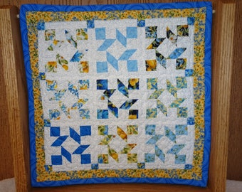 "June  Miniature  ""Quilt of the Month"" Patchwork Quilt or Table Topper - Summer Breeze Yellow and Blue Floral Mini Quilt"