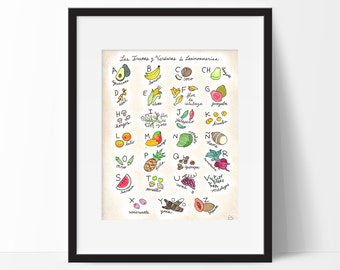Fruits and Vegetables of Latin America Spanish Alphabet Poster, Food Art, Kitchen Wall Art