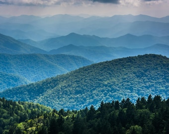 Layers of the Blue Ridge, Cowee Mountains Overlook, Blue Ridge Parkway, North Carolina. Photo Print, Metal, Canvas, Framed.