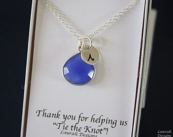 6 Monogram Bridesmaid Necklace Blue, Bridesmaid Gift, Royal Blue Gemstone, Sterling Silver, Initial Jewelry, Personalized, Dark Blue, Cobalt