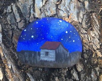 Barn, hand painted rock, barn with red roof, barn at night, old barn