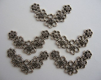 5 Silver Flower Chain Jewellery Connector Pendant 34x22mm