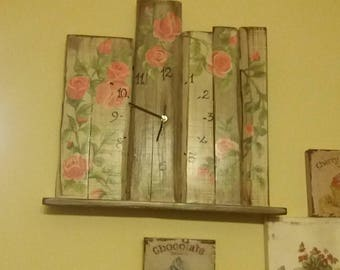 Wooden Watch with roses hand painted style shabby chic