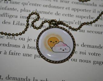 Necklace - bronze 70 cm - kawaii - Sun and cloud
