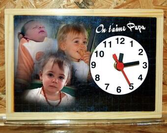 Style desk clock custom school slate 3 photos of your choice