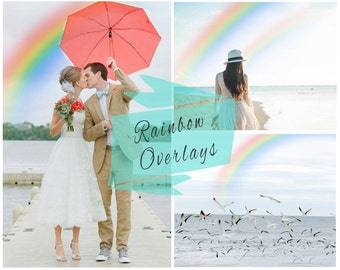 Rainbow Photoshop Overlays,  Photoshop Overlays, Texture, Rainbow, PNG Rainbows, Digital Backdrop, Instant Download