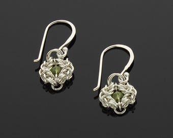 Handmade Romanov Chainmaille Earrings with Peridot