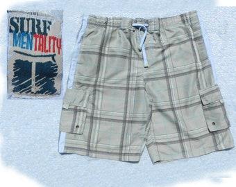 swim trunks,Vintage swim shorts, Tan swim trunks, men's summer shorts, Size L  40 to 42 waist, # 15