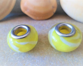 2 European beads Pale yellow white Lampwork Glass 14 mm big hole for snakeskin and Leather Bracelets