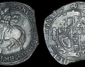 Antique English Coin Genuine Charles I Solid Silver Half Crown 1641-1643, Old, British, Stuart, Civil War