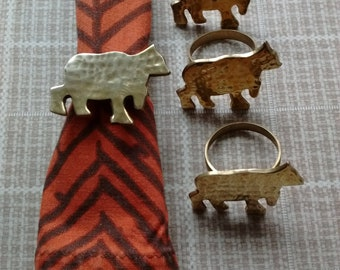 Brass napkin rings, set of 8; 4 bears & 4 trees, Rustic  cabin lodge decor, Vintage
