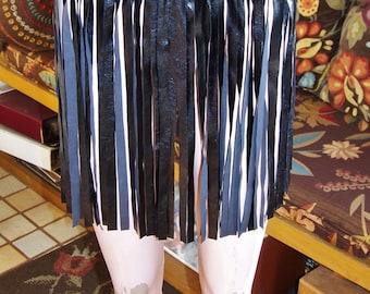 Fringe mini skirt Black Faux Leather VEGAN over-skirt size m
