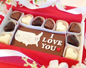 I Love You Chocolates - Long Distance Gift - Personalized Map Chocolate - Miss You Gift - I Love You Gift - Gift for Boyfriend - Love You