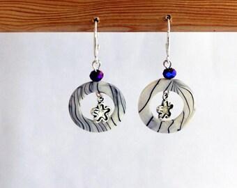 Dangle earrings Pearl and flower