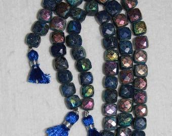 AB, AB Lapis, 8 mm, Lapiz Cube Bead, Lapis Cube, Faceted Cube, Natural Stone, Semi Precious, Sparkle Bead, Half Strand, AdrianasBeads