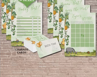 Classic Winnie the Pooh Baby Shower 8 Games Package / Instant DOWNLOAD EDITABLE / Charades / Guess / Invitation / Bingo / green / PRINTABLE