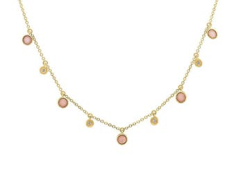 Beautiful Natural Opal and Real Diamond Charm Necklace, 0.74 tcw 14K Yellow Gold Round Cut Pink Opal and Diamond Dangling Shake Necklace