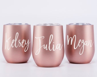 Wine tumbler, best insulated tumbler, wine sippy cup, metal tumbler, Personalized wine cup, Rose Gold Cup, Bride to be Gift, Wine Glasses 4