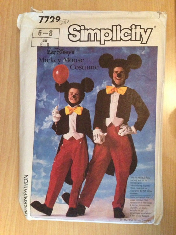 Simplicity 7729 Sewing Pattern 80s Childrens Mickey Mouse Costume Size 6-8