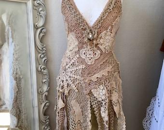 Boho dress sand and cream ,bohemian dress open back, Gypsy dress antique lace,one of a kind dress,open back dress,bohemian wedding,rawrags