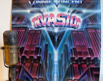 "ON SALE Vinnie Vincent (Kiss) Vinyl LP Record Vintage 1980s Glam Metal Rock and Roll Shredding Guitar ""Invasion"" (1986 Chrysalis w/""Animal"")"