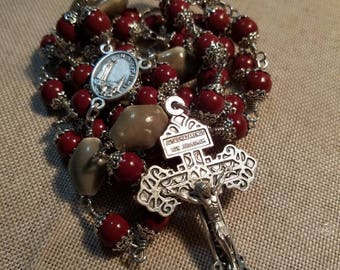 Hand Made Our Lady of Fatima Rosary, burnt red glass beads with bead capsas the Ave, and diamond shaped ceramic beads as the Pater beads