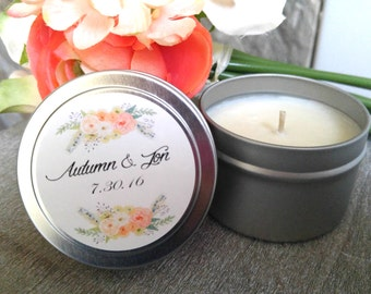 Custom Wedding Favor- Soy Candles- Personalized Wedding Favors- Rustic Wedding Favors- Party Favors- Set of 12