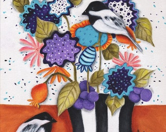 """Flowers Birds Chickadees Whimsical Vase Original painting Art  16"""" X 12""""  colorful Bouquet Gift Home Decor Deb Harvey Floral"""
