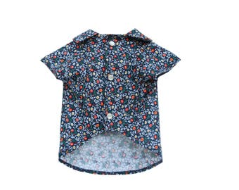 Dog Clothes The Blue Bloom | Dog Shirt | Dog Apparel | Dog Shirts for Dogs | Pet Clothing | Dog Button Up | Floral Print