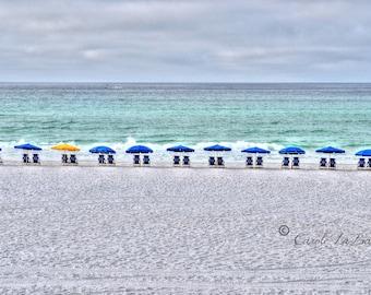 BEACH UMBRELLAS Photograph~Yellow and Blue Umbrellas~ Beach Scape ~ Peaceful, Serenity, Horizon ~ Foot prints in the sand~ Travel Florida ~