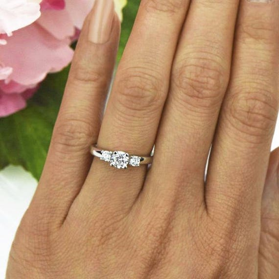 1 ctw Round 3 Stone Engagement Ring Man Made White Diamond