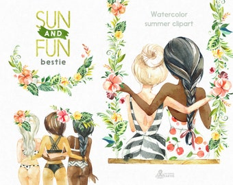 Sun&Fun. Bestie. Watercolor summer clipart, best girlfriends, swing, beach, bikini, florals, flowers, holiday, tropical leaves, jungle, sexy