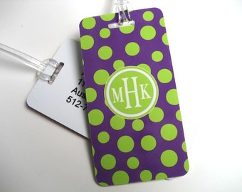 Luggage Tag Pair - Purple and Lime Green Polka Dot Luggage Tag - Monogram Luggage Tag - Polka Dot Travel Tag