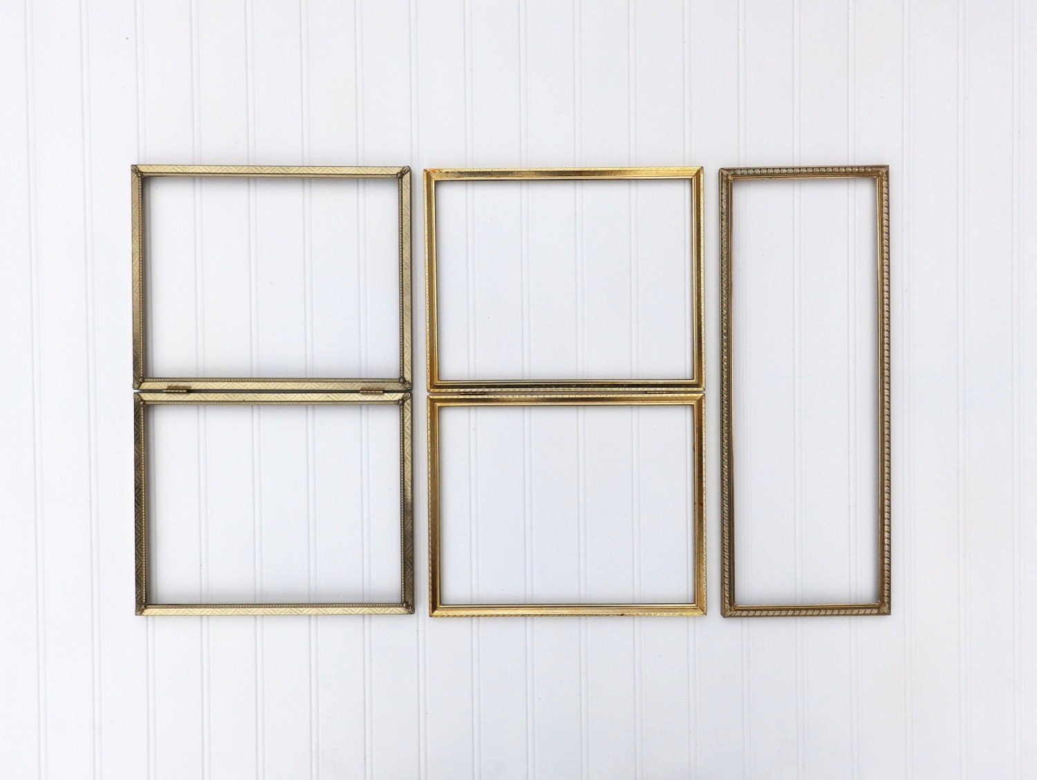 SET of 5 Beautiful Mixed Vintage Gold Frames, Collection of Rustic ...
