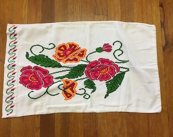 Vintage Cross Stitch Hand Embroidered Orange and Pink and Red Peonies Pillowcase
