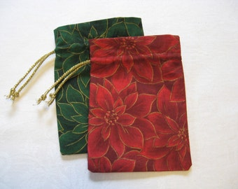 Small Poinsettia Gift Bags set of 2