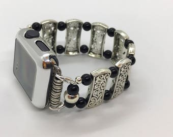 Black and Silver Apple Watch band - 38MM - 42MM - Apple Watch Bands - Apple Watch Band Women