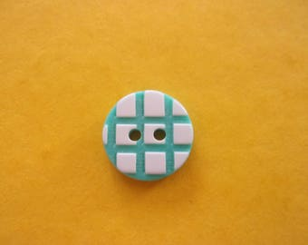 Set of 2 turquoise round buttons, checked pattern in acrylic, 2 holes - 15 mm