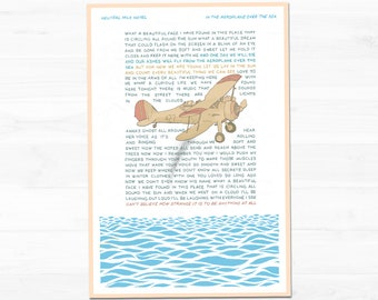 Neutral Milk Hotel - In The Aeroplane Over The Sea - Hand-Illustrated Song Lyrics   Small Poster Wall Art Print (13x19)