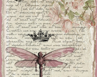 Shabby Chic Wall Plaque - Dragonfly, Crown, Roses and Text