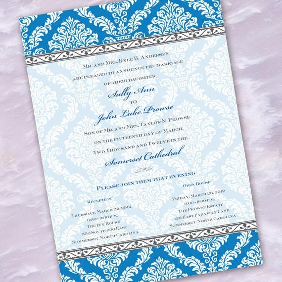 wedding invitations, bridal shower invitations, turquoise damask wedding, turqouise bridal shower invitations, turquoise damask invitation