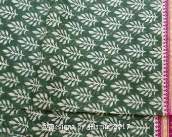 Green Floral Print Cotton Fabric, Printed Indian Sari Fabric By The Yard, Block Print Fabric, Green Indian Cotton Fabric,Sheer Cotton Fabric