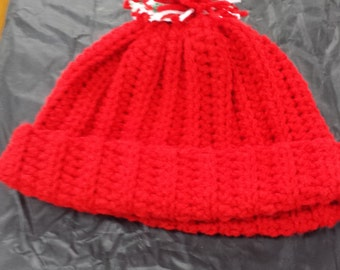 Red Crocheted Stocking Cap
