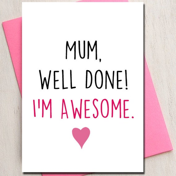 Mothers Day Love Card Mum Awesome Mom Mum Card Birthday