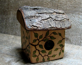 Would you like to make a nest with me.... Rustic Natural Bradford Pear Wood Personalized Bird House Engagement Ring Box by Tanja Sova